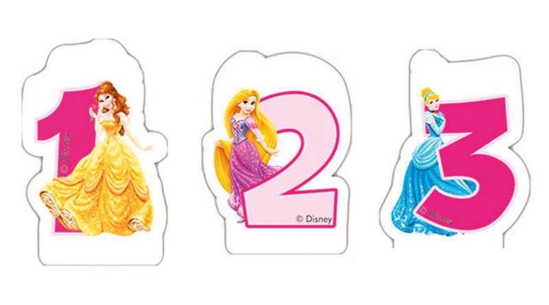 kagelys med disney prinsesser, fødselsdagslys, deiney fødselsdagslys, lys med rapunzel, lys med askepot, lys med bella, lys med disney prinsesser