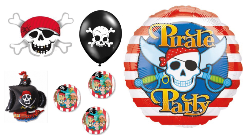 pirat ballon, ballon piret, jake og piraterne ballon, folieballon pirat, sørøver ballon, sørøvet folieballon,