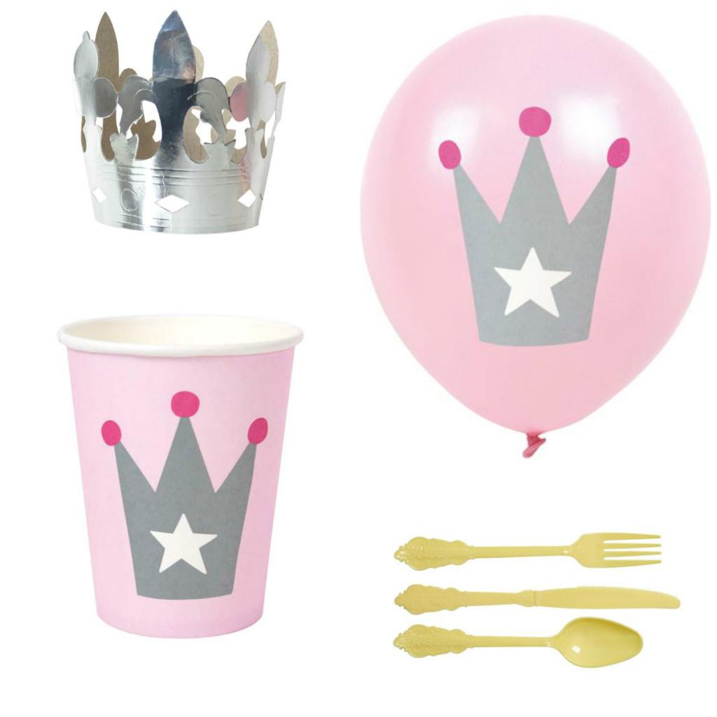 børnefødseldag, prinsessefødselsdag, prinsesse fødselsdag, lyserødt teme, pige fødselsdag, pink fødselsdag, prinsessekrone udstikker, balloner med prinsessekrone
