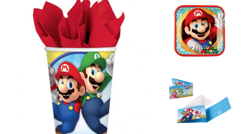 Borddækning til Super Mario fødselsdag