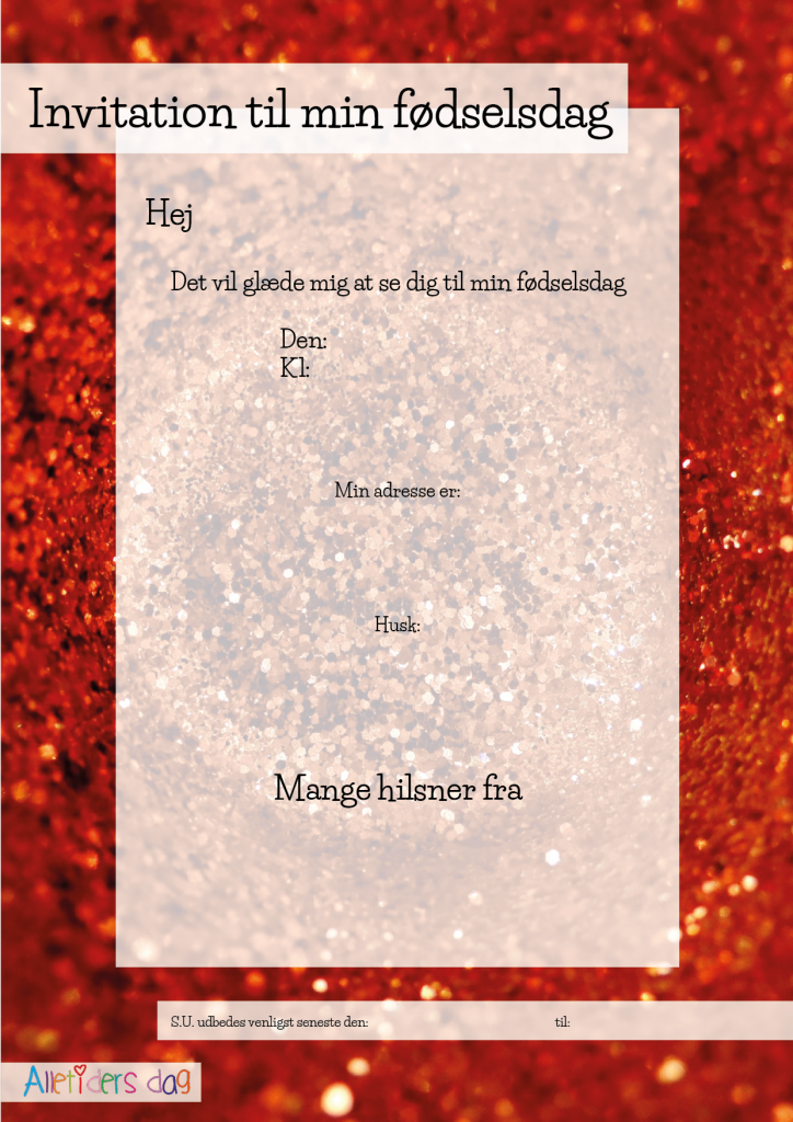 Rød_glimmer_fødselsdagsinvitation_højformat - Alletiders dag
