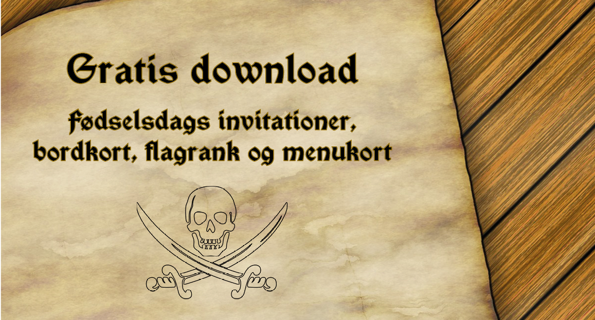 Download: Tilbehør til Pirat fødselsdag - Alletiders dag
