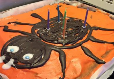 Nem edderkop kage, nem halloweenkage, uhyggelig kage til halloween, halloween fødselsdag