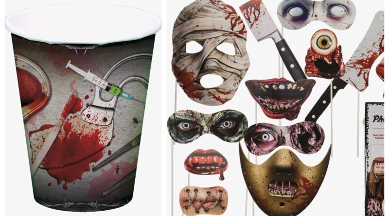 blodig halloween fødselsdag, halloween festartikler, halloween borddækning, halloween masker, halloween børnefødselsdag, halloween temafest