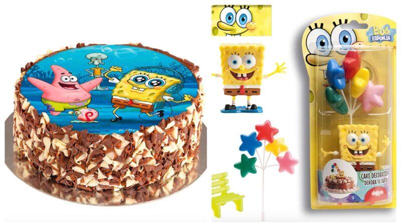 borddækning til svampebob firkant fødselsdag, svampebob firkant fødselsdagstema, svampebob firkant børnefødselsdag, svampebob firkant festartikler, svampebob firkant kage